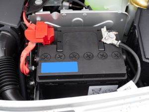 Car battery with cables